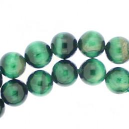 Fil de 64 perles rondes 6mm 6 mm en oeil de tigre teinté vert