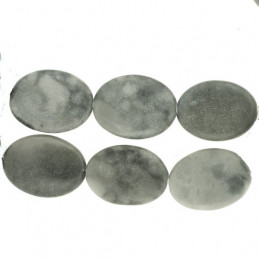 Fil de 16 perles ovales en jaspe gris marbré 23 X 17mm