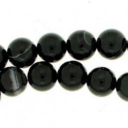 Fil de 61 perles rondes 6mm 6 mm en agate agathe noire rayée