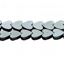 Fil de 70 perles coeurs en hématite 6 mm de diamètre