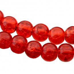 Fil de 130 perles rondes craquelées rouge en verre 6mm 6 mm