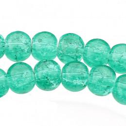 Fil de 130 perles rondes craquelées vert menthe en verre 6mm 6 mm