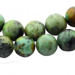 Fil de 35 perles rondes 10mm 10 mm en turquoise africaine tachetée