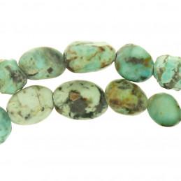 Fil de 60 perles nuggets ovales irrégulières en turquoise africaine 0,5mm env
