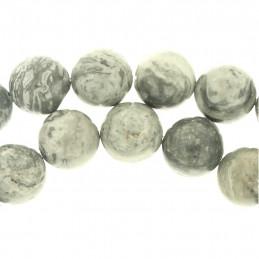 Fil de 35 perles rondes 10mm 10 mm en jaspe océan naturel