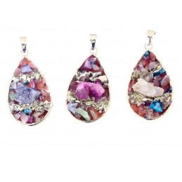 Pendentif goutte larme en quartz brut druzy multicolore + chaine