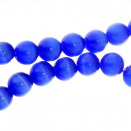 Fil de 50 perles rondes oeil de chat 8mm 8 mm bleu fonçé nuit