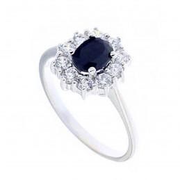 Bague alliance femme marquise cz bleu saphir & cristal en argent
