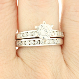 Bague Twin set 3 en 1 en argent : alliance + solitaire cz cristal