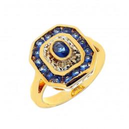 Bague marquise carré alternés cz bleu saphir & cristal plaqué or