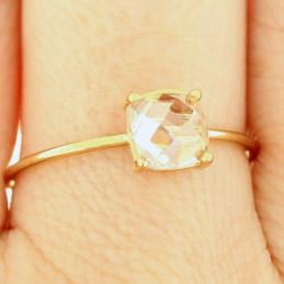 Bague alliance femme avec solitaire cz carré cristal plaqué or