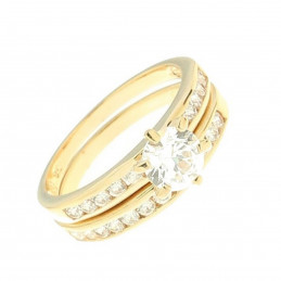 Bague twin set 3 en 1 en plaqué or : alliance + solitaire cz