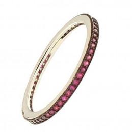 Bague anneau femme enfant serti de cz rouge en argent 2mm EN16