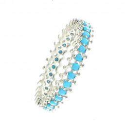 Bague anneau alliance femme serti de cz turquoise en argent 2mm EN19