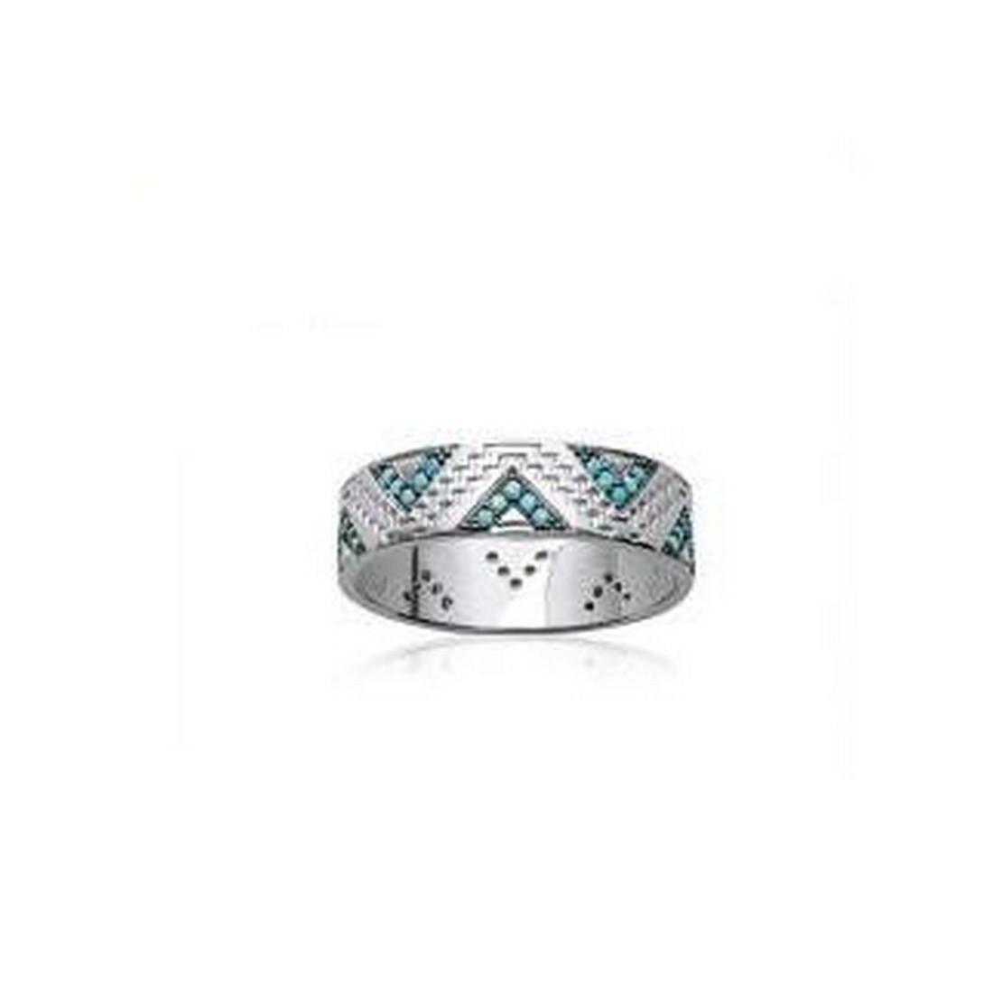 meilleure qualité charme de coût prix le moins cher Bague anneau femme triangle turquoise en argent 2mm EN3