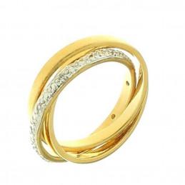 Bague alliance femme trois anneaux cz cristal en plaqué or EN39