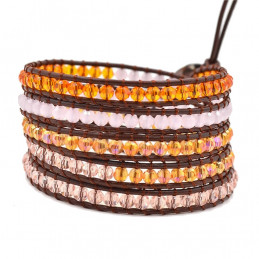 Bracelet long wrap entouré de perles cristal facettées orange et rose - 90cm
