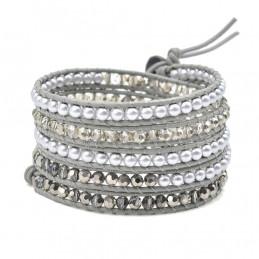 Bracelet long wrap entouré de perles cristal facettées et rondes gris - 90cm