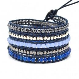 Bracelet long wrap entouré de perles cristal facettées et agate bleue - 90cm