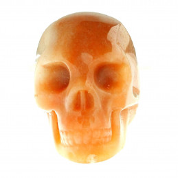 Statuette tête de mort crâne en aventurine orange 4cm de haut