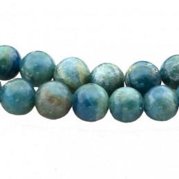 Fil de 95 perles rondes 4mm 4 mm en apatite bleue chauffée