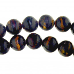 Fil de 62 perles rondes 6mm 6 mm en oeil de fer