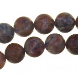 Fil de 46 perles rondes 8mm 8 mm en piétersite pierre des tempêtes