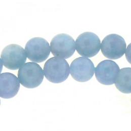 Fil de 60 perles rondes 6mm 6 mm en quartz bleu teinté