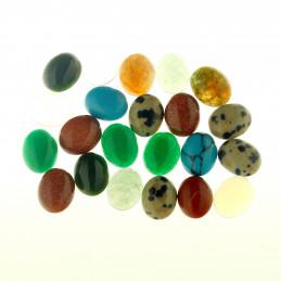 Lot de 10 cabochons ovales en pierres fines et synthétiques - 1 X 0,7 cm