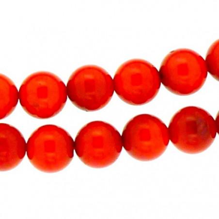Fil de 64 perles rondes 5mm 5 mm en corail rouge teinté