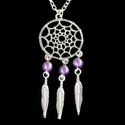 Collier Indien dreamcatcher attrape rêve en acier et perles d'améthyste - 45cm