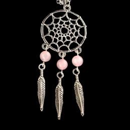 Collier Indien dreamcatcher attrape rêve en acier et perles de quartz rose - 45cm