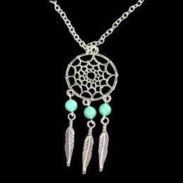 Collier Indien dreamcatcher attrape rêve en acier et perles de aventurine - 45cm