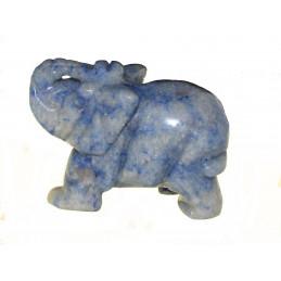 Statuette éléphant en aventurine bleue 6cm de long