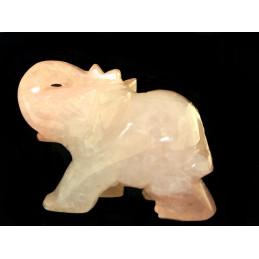 Statuette éléphant en quartz rose 6cm de long