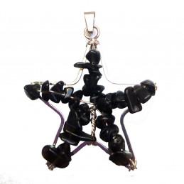 Pendentif étoile en chips perles d' agate noire + chaine