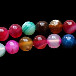 Fil de 35 perles rondes 10mm 10 mm en agate multicolore bleu rose rouge jaune ...