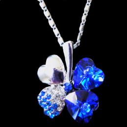 pendentif trèfle à 4 feuilles en cz cristal et bleu + chaine