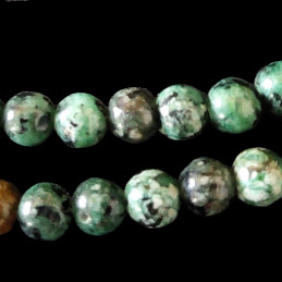 Fil de 42 perles rondes 8mm 8 mm en turquoise africaine tachetée