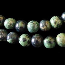 Fil de 64 perles rondes 6mm 6 mm en jaspe vert kambaba