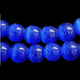 Fil de 50 perles rondes oeil de chat 8mm 8 mm bleu fonçé nuit 11