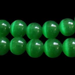 Fil de 50 perles rondes oeil de chat 8mm 8 mm vert fonçé 10