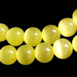 Fil de 50 perles rondes oeil de chat 8mm 8 mm jaune citron 4