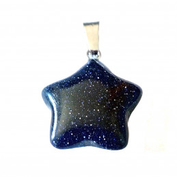 Pendentif petite étoile en pierre de nuit synth + chaine 2cm diam