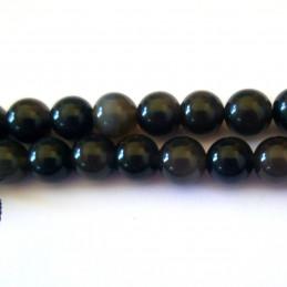 Fil de 46 perles rondes 8mm 8 mm en obsidienne noire argentée
