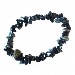 Bracelet élastique de perles chips en obsidienne mouchetée neige- 50mm