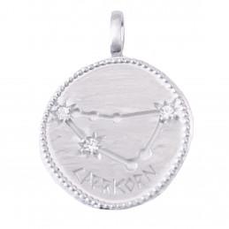Pendentif médaille constellation du capricorne zodiaque en argent + chaine