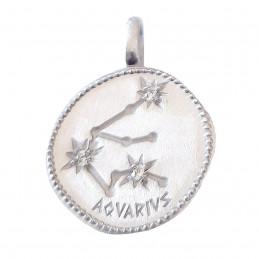 Pendentif médaille constellation du verseau zodiaque en argent + chaine