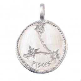 Pendentif médaille constellation des poissons zodiaque en argent + chaine