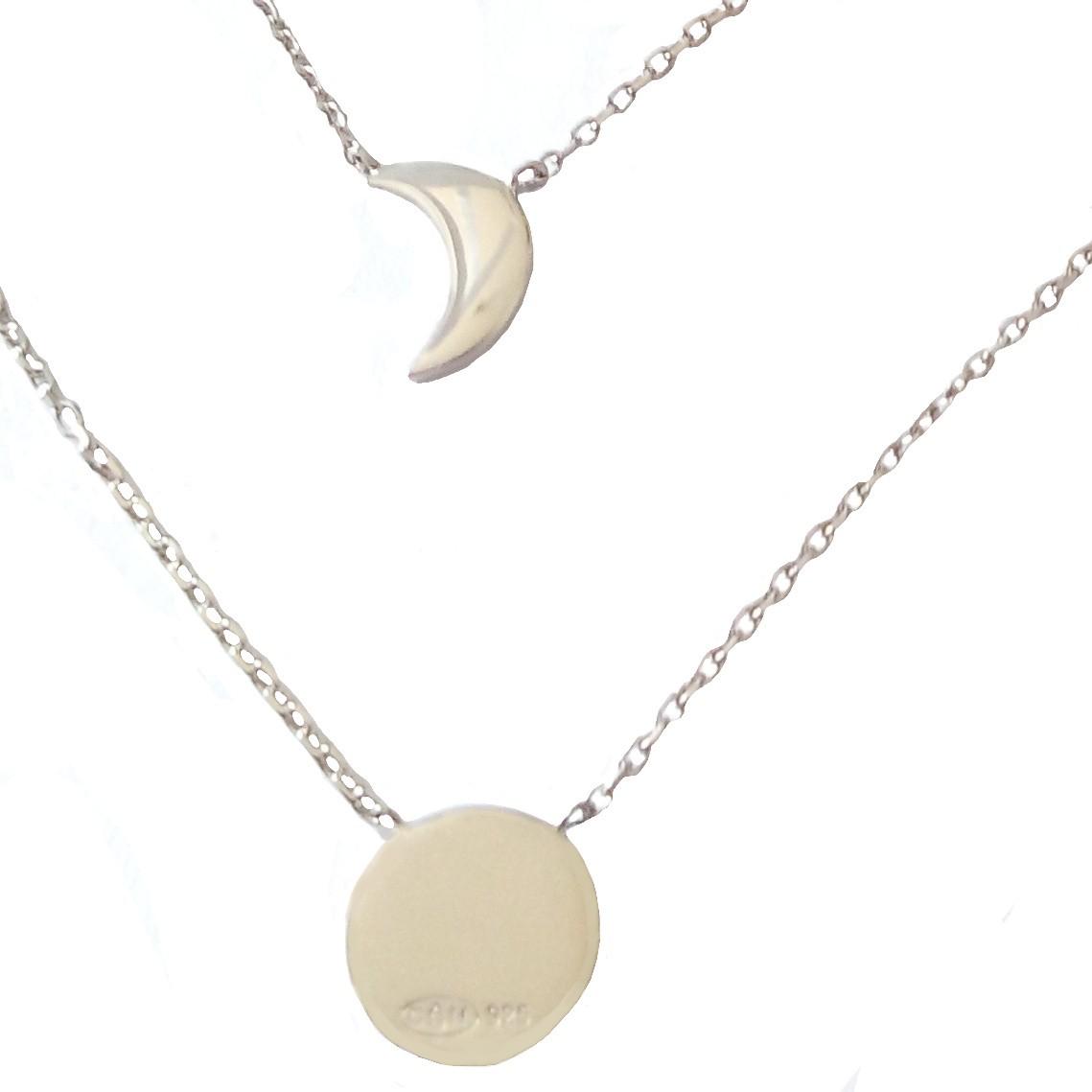 Fashion cristaux or Lune et breloque étoile deux chaînes en or Collier